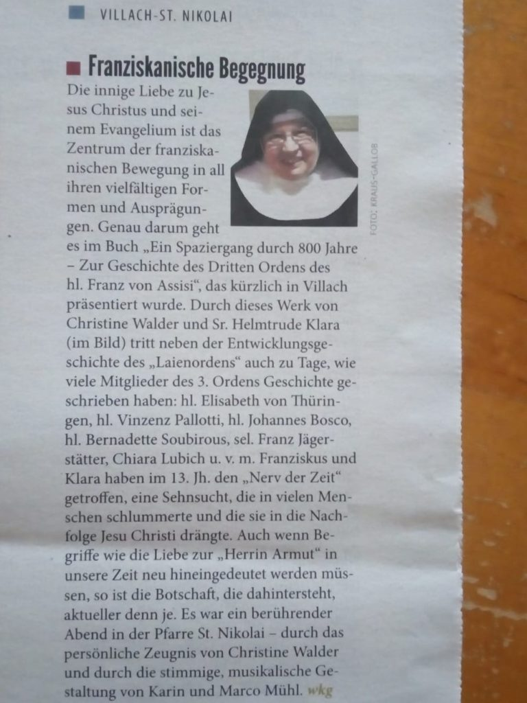 OFS | Ordo Franciscanus Saecularis Österreich | Artikel_BUCH_Christine_1